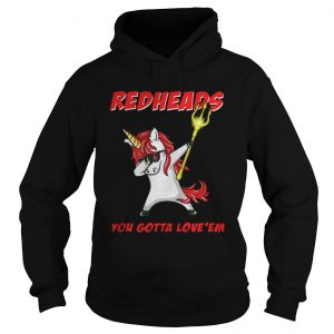 Awesome Aquaman Unicorn Dabbing Redheads you gotta loveem shirt Ladies V-Neck