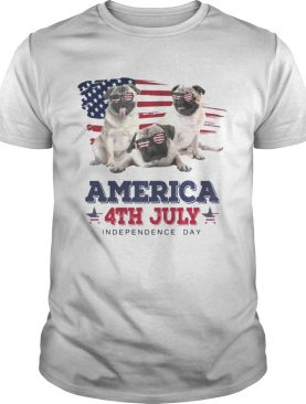 Cool Pug America 4th July Independence Day Tshirt