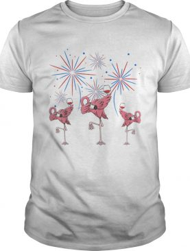 Dabbing Flamingo With Wine Glass Firework 4th Of July American Flag shirt