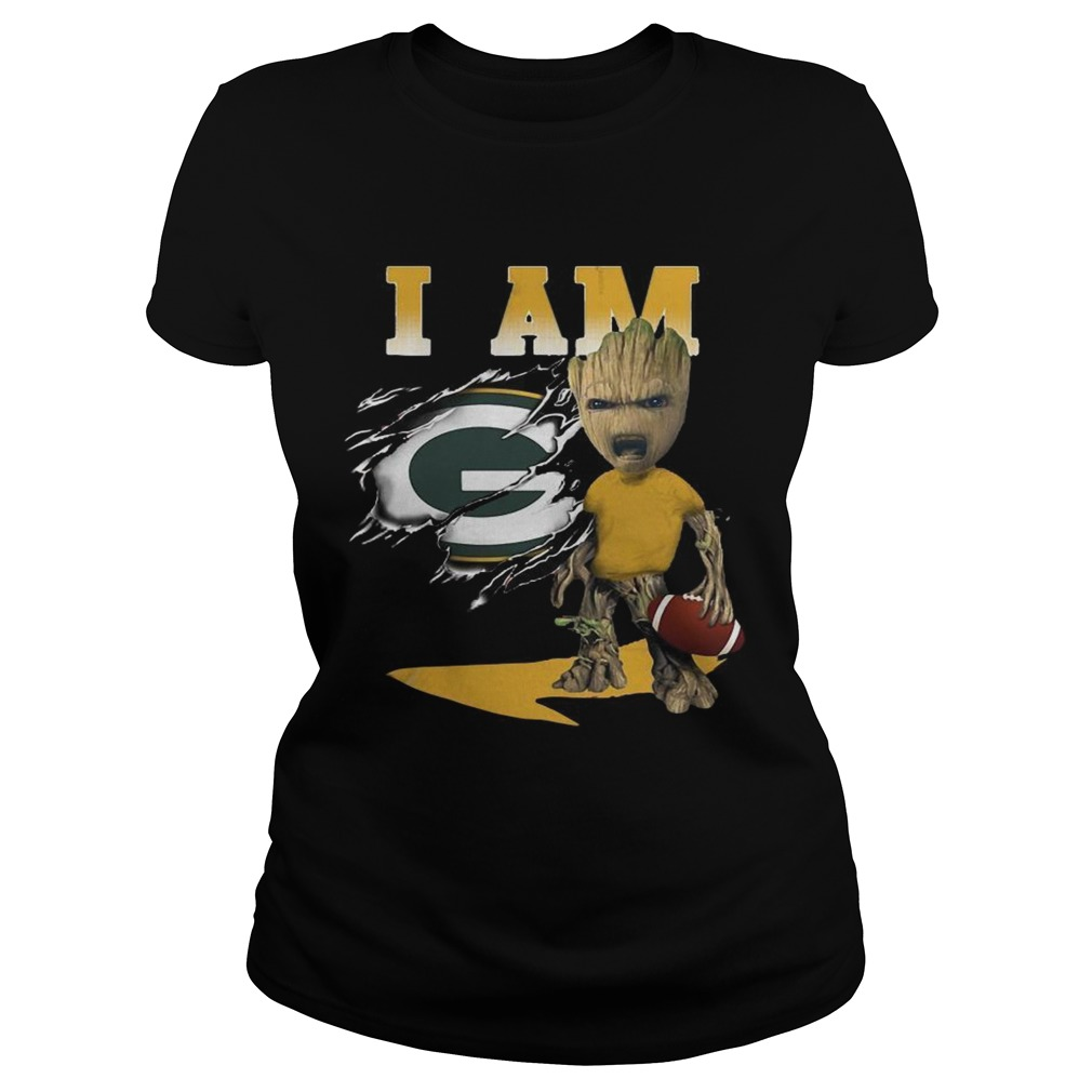 I Am Green Bay Packers Baby Groot  Classic Ladies