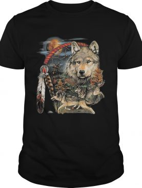 Native American Indian Dream Catcher Wolf Moon Animal Spirit shirt