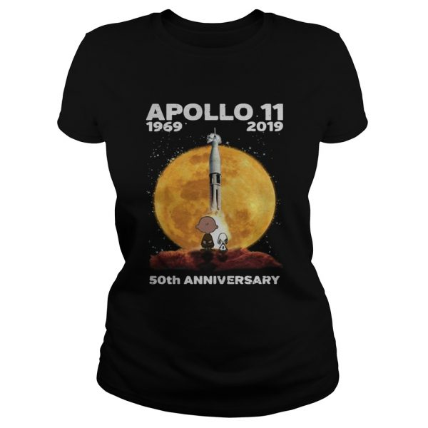Snoopy and Charlie Brown watching Apollo 11 1969 2019 50th Classic Ladies