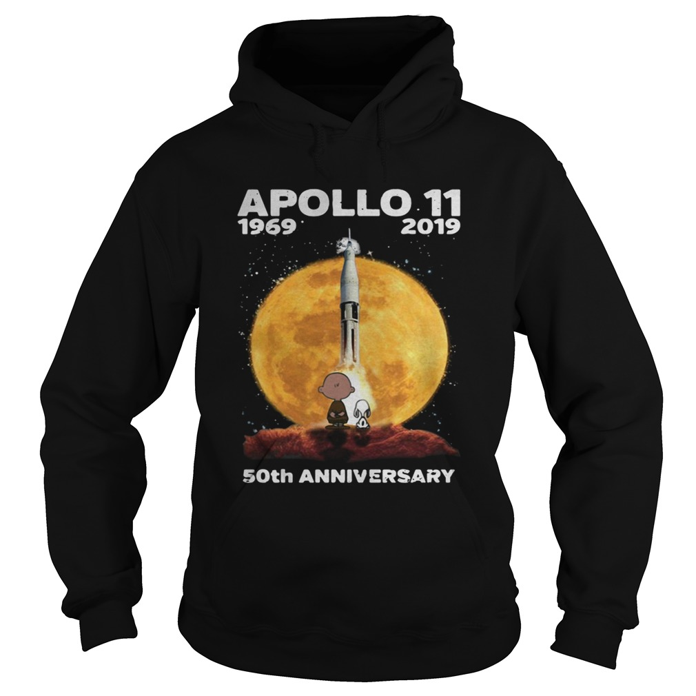 Snoopy and Charlie Brown watching Apollo 11 1969 2019 50th Hoodie