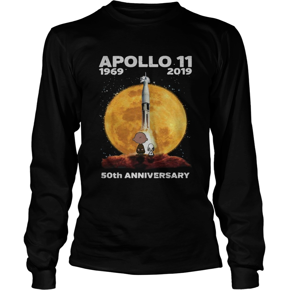 Snoopy and Charlie Brown watching Apollo 11 1969 2019 50th LongSleeve