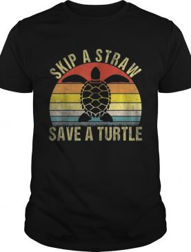 Top Vintage Retro Skip A Straw Save A Turtle shirt