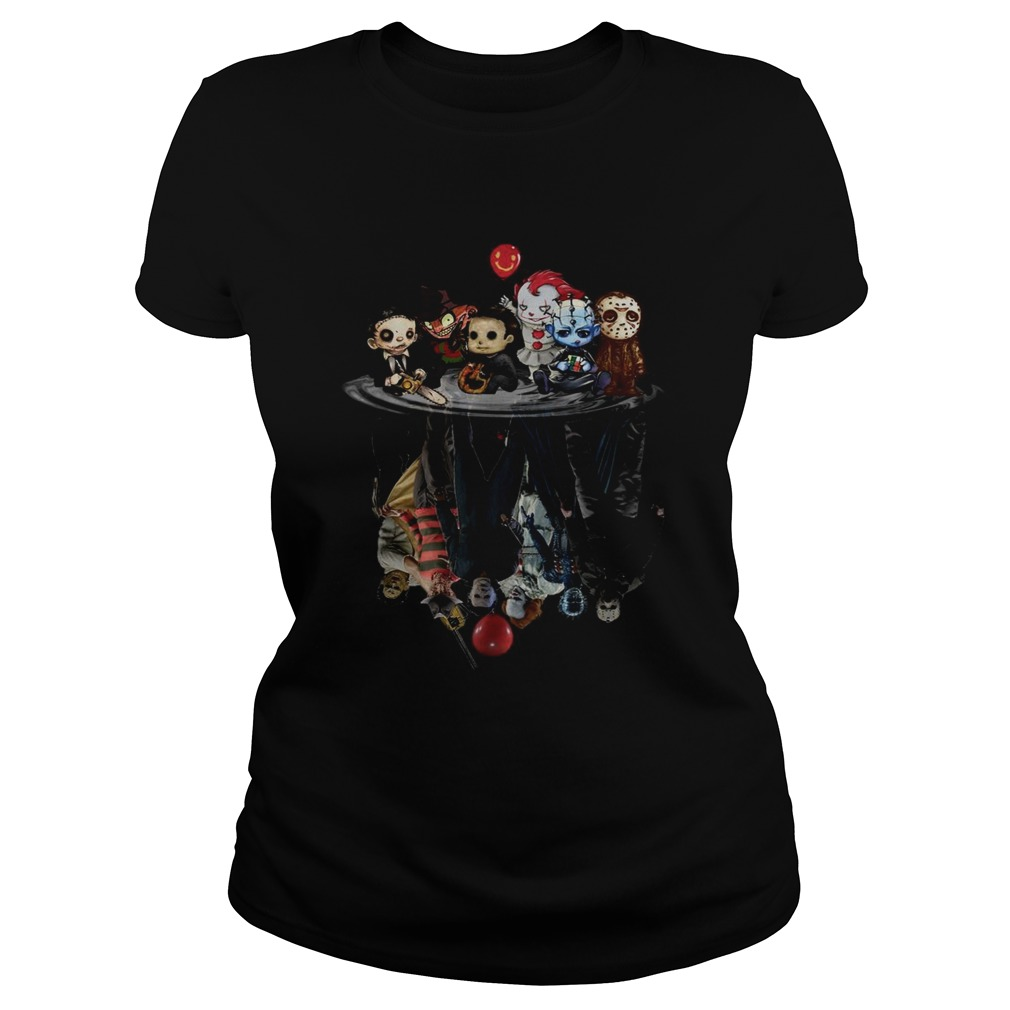 Chibi Horror Movies Characters Reflection Halloween  Classic Ladies