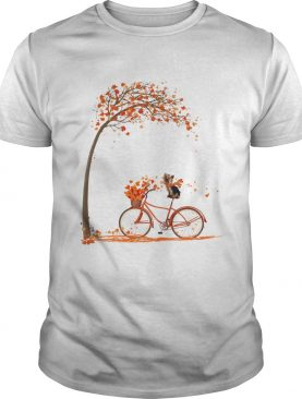 Shih Tzu riding bicycle Autumn leaf tree shirt