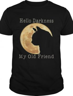 Cat moon Hello darkness my old friend shirt