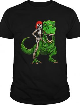 Funny Pirate Skeleton On T Rex Dinosaur Halloween Costume Gifts shirt