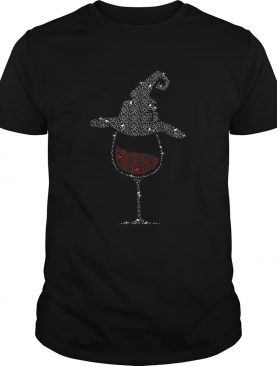 Wine Glass With Witch Hat Halloween Tshirt