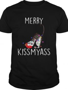 Merry Kissmyass Cat Christmas shirt