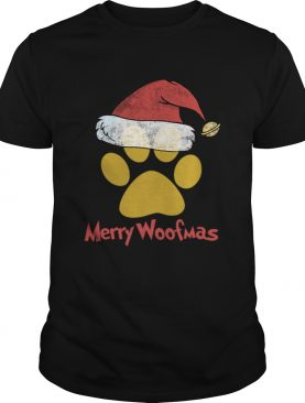 Merry Woofmas Christmas Paw Print Santa Hat Xmas Dog shirt