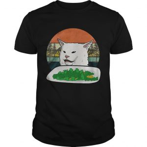 Woman Yelling Confused White Cat At Dinner Vintage  Unisex