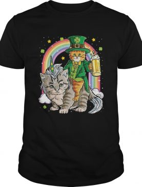 Cat Unicorn Leprechaun Riding Caticorn St Patricks Day Rainbow shirt