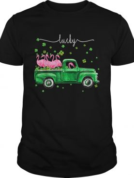 Flamingos Truck Lucky St Patricks Day shirt
