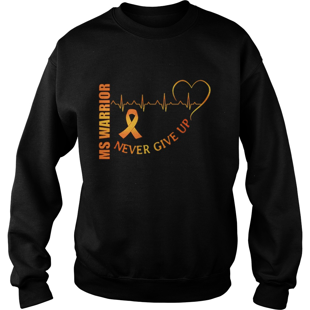 Ms Warrior Cancer never give up heartbeat  Sweatshirt