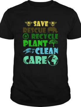 Rescue Rhino Recycle Trash Plant Tree Turtle Clean Care Earth Save The Bees shirt