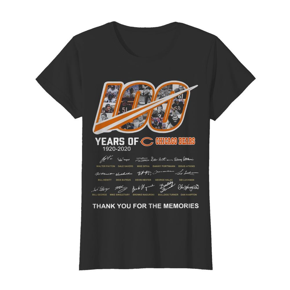 100 Years Of Chicago Bears Thank You For The Memories Signatures  Classic Women's T-shirt