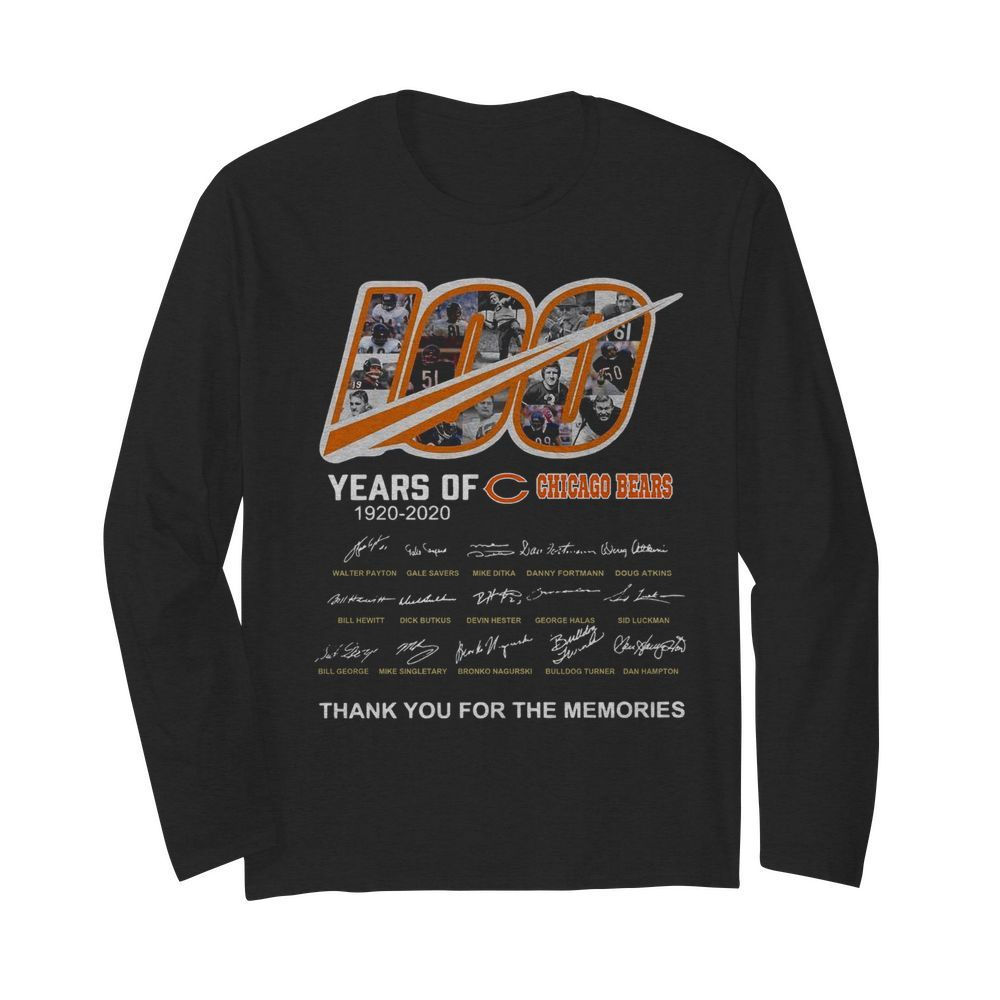 100 Years Of Chicago Bears Thank You For The Memories Signatures  Long Sleeved T-shirt