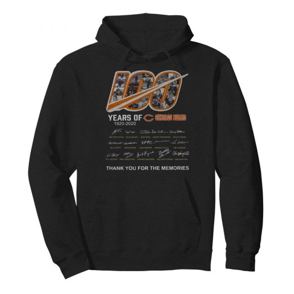 100 Years Of Chicago Bears Thank You For The Memories Signatures  Unisex Hoodie