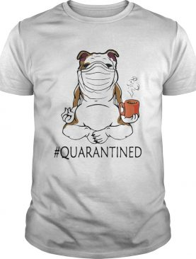 Bulldogs yoga and drink coffee quarantined mask covid19 shirt