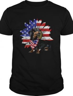 Daschund America flag sunflower shirt