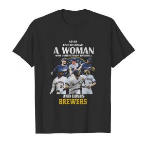 Never underestimate a woman who understands baseball and loves milwaukee brewers  Classic Men's T-shirt