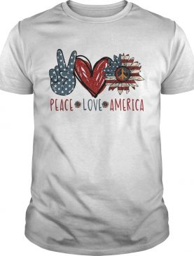 Peace love American flag veteran Independence Day heart shirt