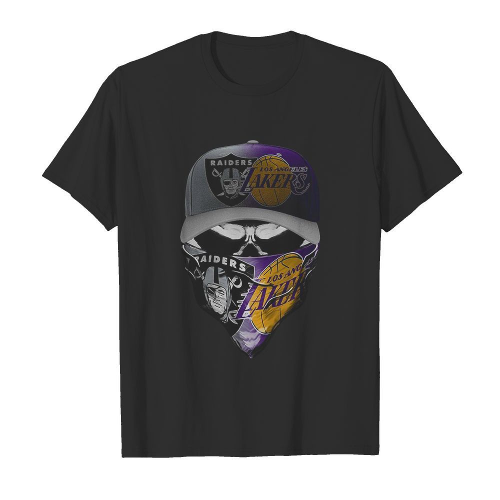 Skull Mask Oakland Raiders And Los Angeles Lakers  Classic Men's T-shirt