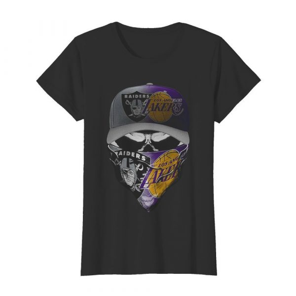 Skull Mask Oakland Raiders And Los Angeles Lakers  Classic Women's T-shirt