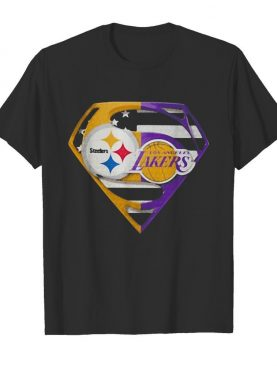 Superhero pittsburgh steelers and los angeles lakers diamond american flag independence day shirt