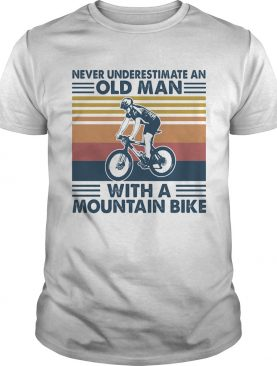 Cycling never underestimate an old man with a mountain bike vintage retro shirt