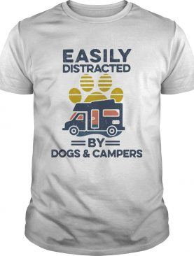 Easily Distracted By Dogs And Campers Footprint Vintage Retro shirt