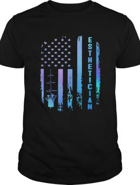 Esthetician heartbeat american flag independence day shirt