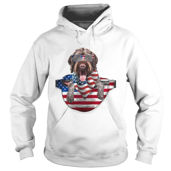 German wirehaired pointer waist pack american flag independence day  Hoodie