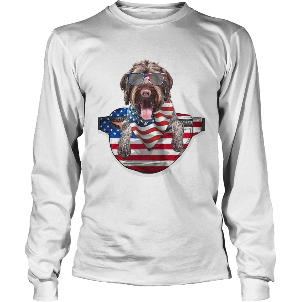 German wirehaired pointer waist pack american flag independence day  Long Sleeve