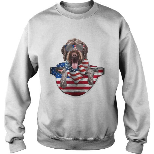 German wirehaired pointer waist pack american flag independence day  Sweatshirt