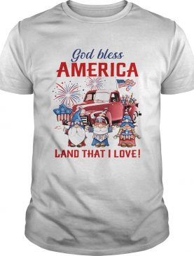 Gnomes god bless america land that i love firework american flag independence day shirt