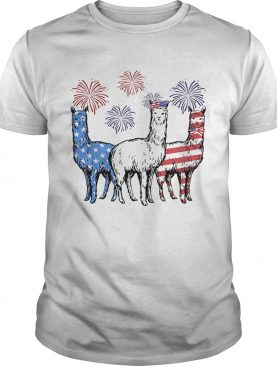 Independence Day Llamas Wear Bow Tie Firework shirt