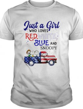 Just a girl who loves red white blue and snoopy firework america 4th of july independence day shirt