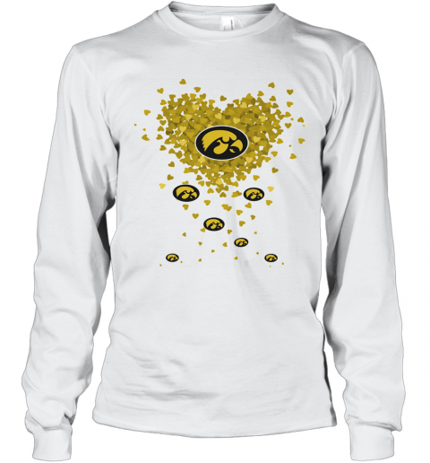 Love Iowa Hawkeyes Logo Hearts T-Shirt Long Sleeved T-shirt
