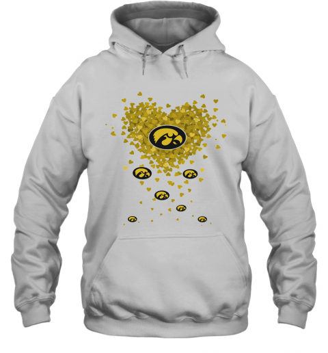 Love Iowa Hawkeyes Logo Hearts T-Shirt Unisex Hoodie