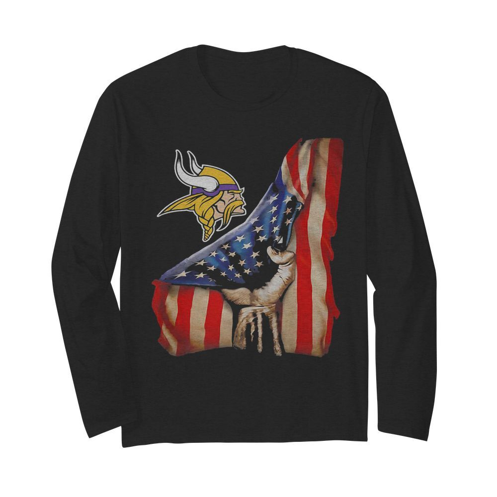 Minnesota vikings american flag independence day  Long Sleeved T-shirt
