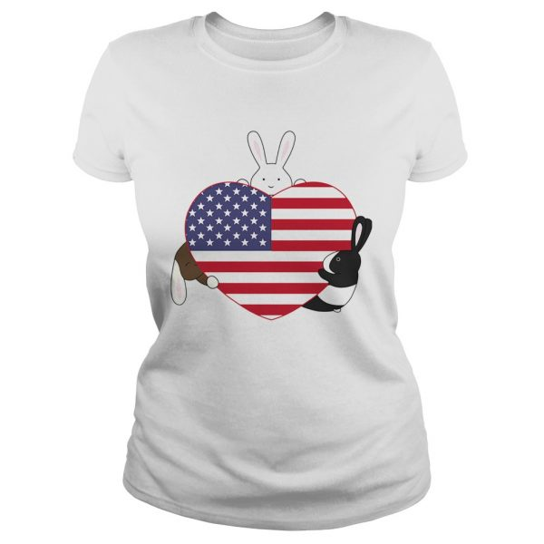 Rabbit hug heart american independence day  Classic Ladies