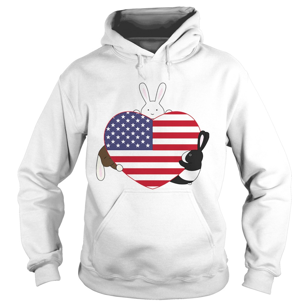 Rabbit hug heart american independence day  Hoodie