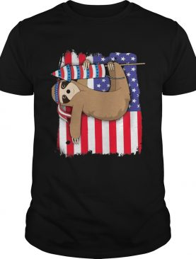 Sloth American flag veteran Independence day shirt