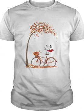 Snoopy and bicycle autumn yellow leaves shirt