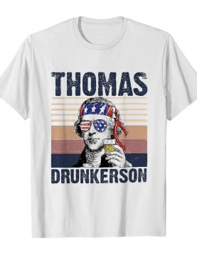 Thomas drunkerson drinking beer american flag independence day vintage shirt