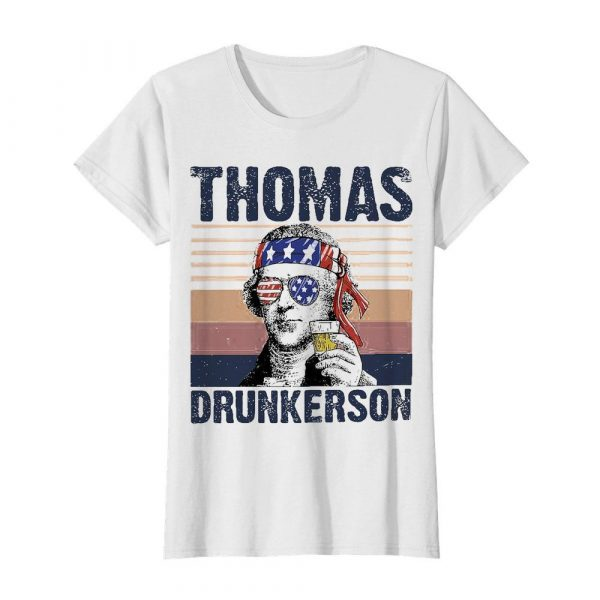Thomas drunkerson drinking beer american flag independence day vintage  Classic Women's T-shirt