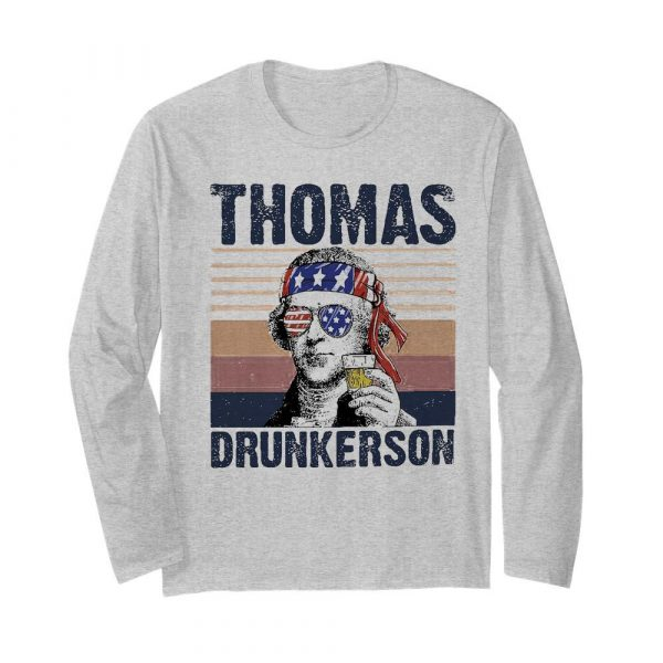 Thomas drunkerson drinking beer american flag independence day vintage  Long Sleeved T-shirt
